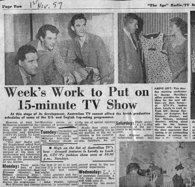 The Age, 1 Nov 1957 | Week's work to put on 15-minute TV show