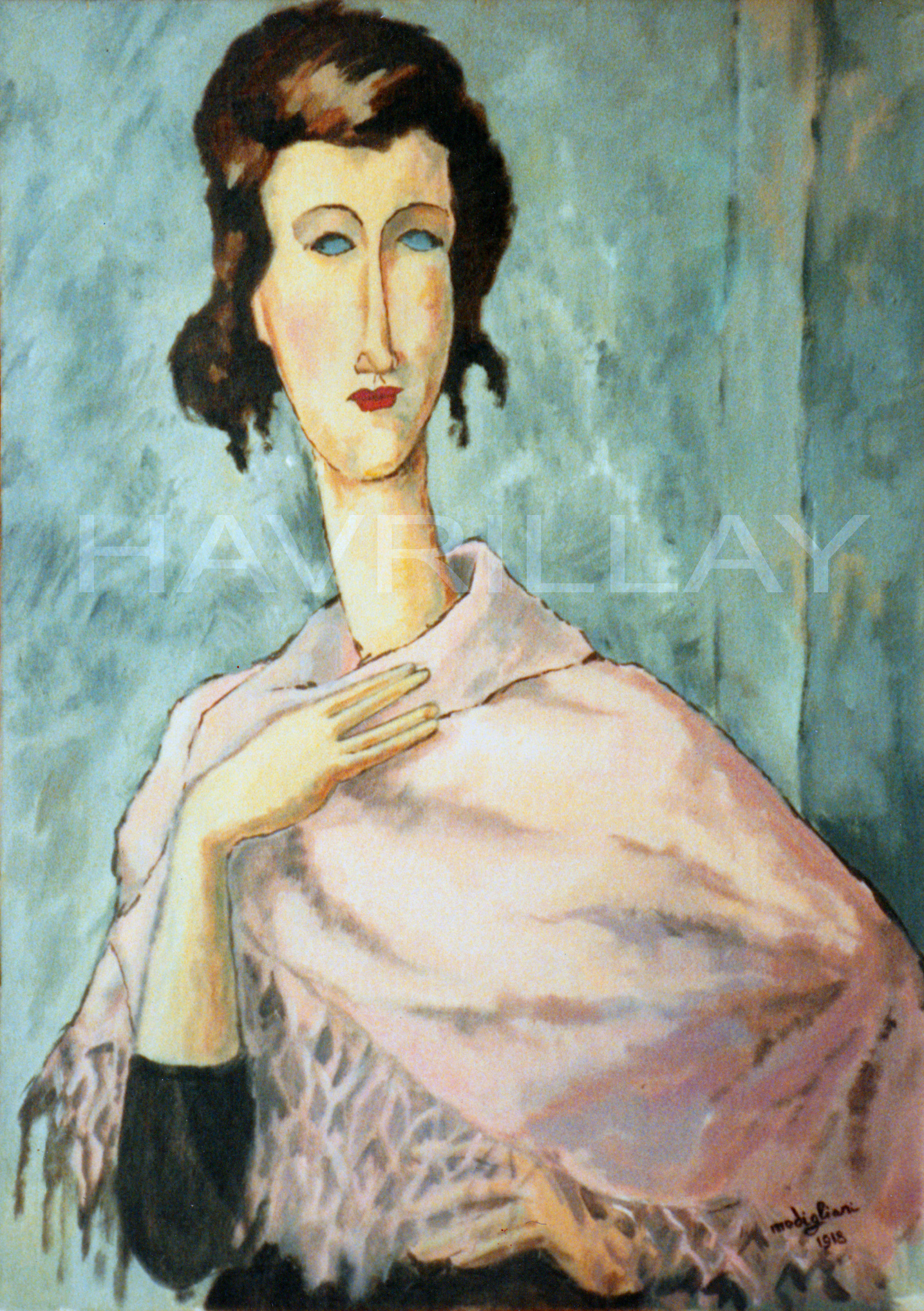 In the style of Modigliani - Painting by George Havrillay