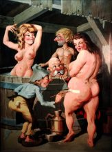 Medieval Bathhouse Series - Original painting by George Havrillay
