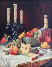 Candleabra, fruit, cheese and wine. Original painting by George Havrillay