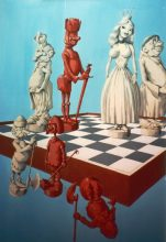 Chess board characters - Original painting by George Havrillay.