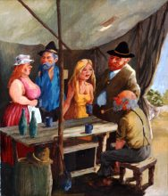 Sly Grog Tent 2. Original painting by George Havrillay.