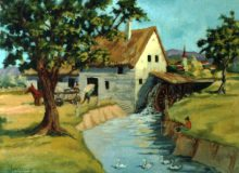 Water Mill. Original painting by George Havrillay.