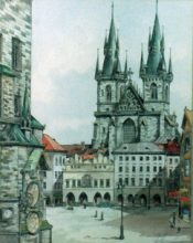 Prague - Original ink & watercolour by George Havrillay