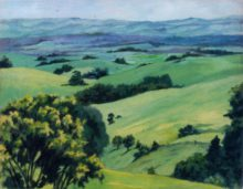 South Gippsland hills. Original painting by George Havrillay.