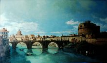 Belotto: Castel St. Angelo - Reproduction oil painting by George Havrillay