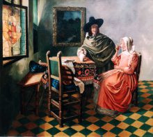 Vermeer: The Glass of Wine - Reproduction oil painting by George Havrillay.