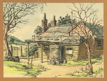 South Gippsland Farmhouse. Original watercolour by George Havrillay