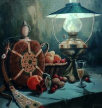 Lamp and Kulacs - Original still life painting by George Havrillay.