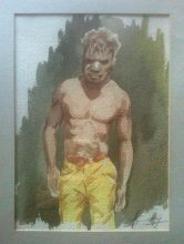 Aboriginal man. Original watercolour by George Havrillay