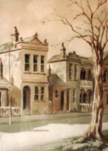 Carlton. Original watercolour by George Havrillay. Photo taken in the 1980s.