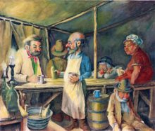 Sly Grog Tent 1. Original painting by George Havrillay.