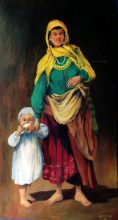 Gypsy Mother & Child. Original painting by George Havrillay.