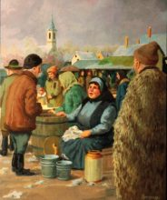 Hungarian Market Seller. Original painting by George Havrillay.
