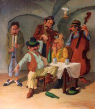 Hungarian Musicians in the Tavern. Original painting by George Havrillay.