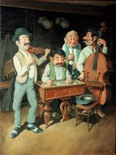 Hungarian Gypsy Band 3. Original painting by George Havrillay.