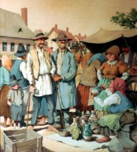 Jug Seller. Original painting by George Havrillay.